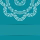 Карточка сини бирюзы с богато украшенной картиной Стоковое Изображение RF