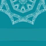 Карточка сини бирюзы с богато украшенной картиной Стоковые Изображения RF