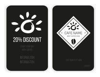 Карточка скидки кофе писание шаблона тетради пожара конструкции ваше черная белизна стоковое фото