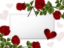 Карточка смертной казни через повешение окруженная розами Стоковое Изображение RF