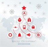 Карточка снабжения рождества Схематическая рождественская елка на схематической карте мира Красные значки на белой серой предпосы Стоковые Изображения