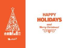 Карточка современного стиля красная и белая цветовой схемы счастливая праздников Стоковая Фотография RF