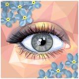 Карточка состава человеческого глаза в стиле полигона Стоковое Изображение RF