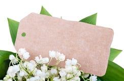 Карточка среди лилий долины Стоковое Изображение