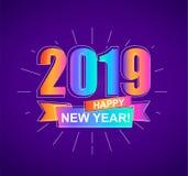 Карточка счастливого Нового Года 2019 красочная вектор Стоковое Фото