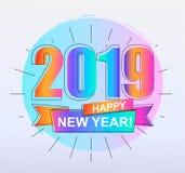 Карточка счастливого Нового Года 2019 красочная Стоковые Фото