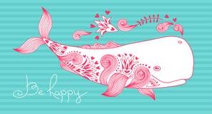 Карточка счастлива с китом Стоковое Фото