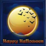 Карточка счастливый хеллоуин, луна Стоковые Фотографии RF