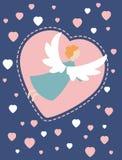 Карточка с ангелом и сердцами Стоковые Изображения RF