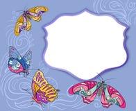 Карточка с бабочками, doodle Стоковое фото RF