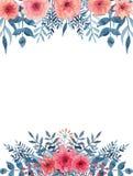 Карточка с букетами акварели с розовыми и светлыми красными цветками иллюстрация штока