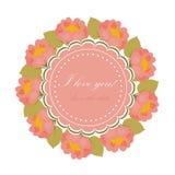 Карточка с венком цветков с местом для текста Illustra вектора Стоковое фото RF