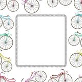 Карточка с велосипедом и след от колеса Стоковые Фото