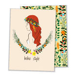 Карточка с девушкой, стилем boho венка Стоковая Фотография RF