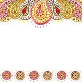Карточка с желтым акварели ярким и розовым Пейсли иллюстрация штока
