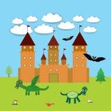 Карточка с замком, ландшафт сказки с драконами и летучие мыши вектор Стоковое Фото