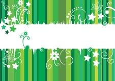 Карточка с зелеными линиями и цветками Иллюстрация вектора