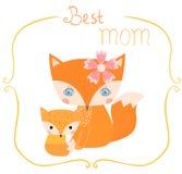 Карточка с лисами на день ` s матери Иллюстрация штока