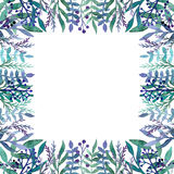 Карточка с листвой акварели зеленой и голубой, Berriea и травами бесплатная иллюстрация