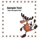 карточка с коричневыми жизнерадостными оленями Стоковые Фотографии RF