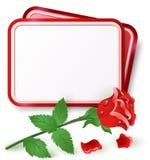 Карточка с красной розой иллюстрация вектора