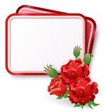 Карточка с красными розами и падением росы бесплатная иллюстрация