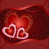 Карточка с красными сердцами Стоковые Изображения