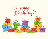 Карточка с красочными настоящими моментами и литерностью с днем рождения иллюстрация вектора