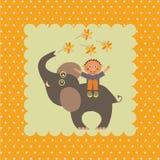 Карточка с мальчиком на слоне Стоковое Фото