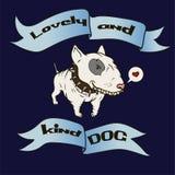 Карточка с милым терьером быка собаки шаржа животное смешное иллюстрация штока