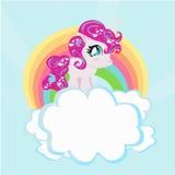 Карточка с милой радугой единорога в облаках. Стоковое Фото