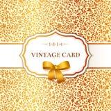 Карточка с предпосылкой малых золотых цветков иллюстрация штока