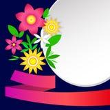Карточка с простыми цветками, рамками и лентой Стоковое Изображение