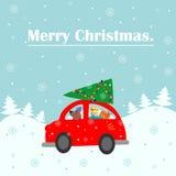 Карточка с Рождеством Христовым Машина дает рождественскую елку для того чтобы украсить дом Красочная иллюстрация вектора на зимн Стоковое Фото