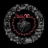 Карточка с Рождеством Христовым Подарочные коробки в стиле doodle вектор иллюстрация штока