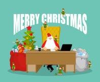 Карточка с Рождеством Христовым Санта Клаус проверяет почту от детей развилки бесплатная иллюстрация