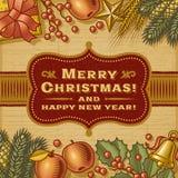 Карточка с Рождеством Христовым сбора винограда бесплатная иллюстрация