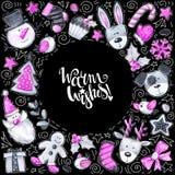 Карточка с Рождеством Христовым Смешные элементы и характеры шаржа Рамка приветствию акварели иллюстрация штока