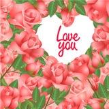 Карточка с розами и рамкой сердца форменной Стоковая Фотография RF