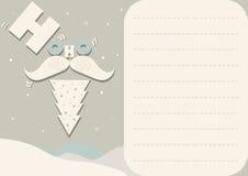 Карточка с Санта Клаусом и рождественской елкой Стоковое Фото