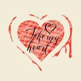 Карточка с сердцем, кровь и слова принимают мое сердце