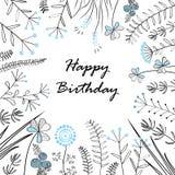 Карточка с травами и текстом medow с днем рождения также вектор иллюстрации притяжки corel Иллюстрация для поздравительных открыт Стоковая Фотография RF