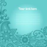 Карточка с флористической картиной Пейсли Стоковое Изображение