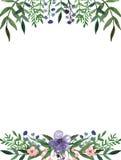Карточка с цветками акварели фиолетовыми и маленькими розовыми и глубокими ыми-зелен листьями иллюстрация вектора