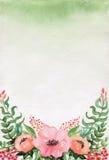 Карточка с цветками и ягодами пинка акварели иллюстрация вектора