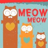 Карточка с 3 котами иллюстрация вектора