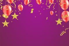 Карточка торжественного открытия с воздушными шарами воздуха красными и золотом звезды иллюстрация штока