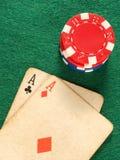 карточка тузов откалывает старый покер 2 Стоковое Изображение