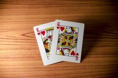 Карточка ферзя короля влюбленности Стоковая Фотография RF