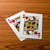 Карточка ферзя короля влюбленности Стоковые Изображения